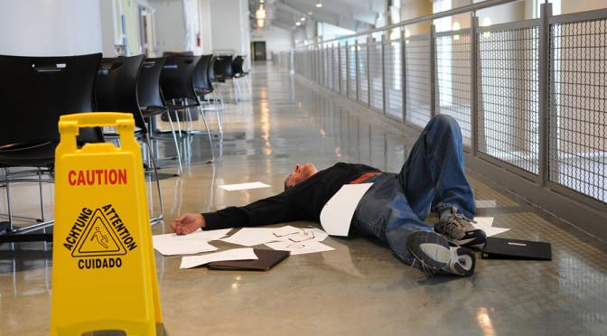 Man Fallen On Wet Floor